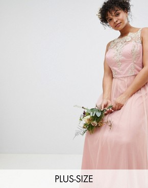 photo Sleeveless Maxi Dress with Premium Lace and Tulle Skirt by Chi Chi London Plus, color Vintage Rose/Gold - Image 1