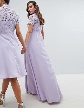 photo 2 in 1 High Neck Maxi Dress with Crochet Lace by Chi Chi London Maternity, color Lavender Grey - Image 2