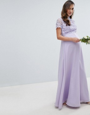 photo 2 in 1 High Neck Maxi Dress with Crochet Lace by Chi Chi London Maternity, color Lavender Grey - Image 1