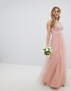 photo Sleeveless Maxi Dress with Premium Lace and Tulle Skirt by Chi Chi London Petite, color Vintage Rose/Gold - Image 4