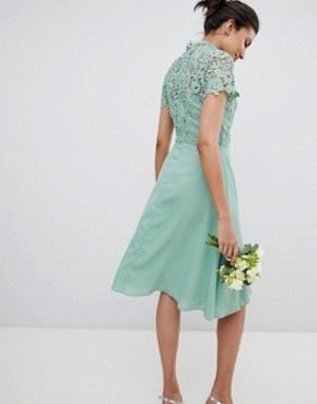 photo 2 in 1 High Neck Midi Dress with Crochet Lace by Chi Chi London Tall, color Green Lily - Image 2