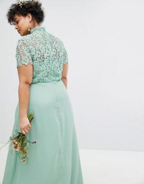 photo 2 in 1 High Neck Maxi Dress with Crochet Lace by Chi Chi London Plus, color Green Lily - Image 2