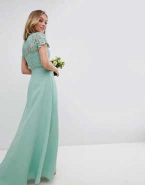 photo 2 in 1 High Neck Maxi Dress with Crochet Lace by Chi Chi London Petite, color Green Lily - Image 2