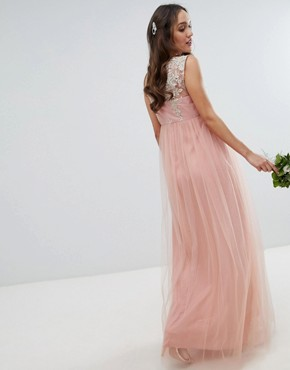 photo Sleeveless Maxi Dress with Premium Lace and Tulle Skirt by Chi Chi London Maternity, color Vintage Rose/Gold - Image 2