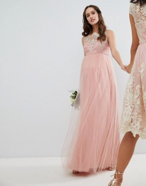 photo Sleeveless Maxi Dress with Premium Lace and Tulle Skirt by Chi Chi London Maternity, color Vintage Rose/Gold - Image 1