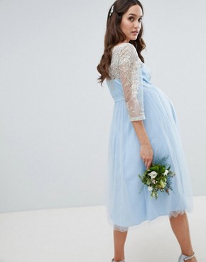 photo Bardot Neck Midi Dress with Premium Lace and Tulle Skirt by Chi Chi London Maternity, color Bluebell/Gold - Image 2