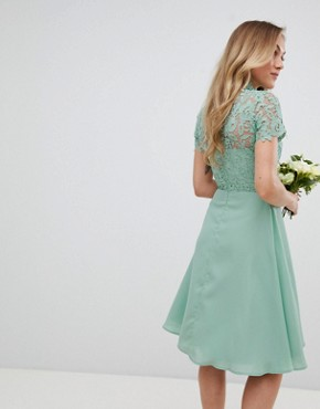 photo 2 in 1 High Neck Midi Dress with Crochet Lace by Chi Chi London Petite, color Green Lily - Image 2