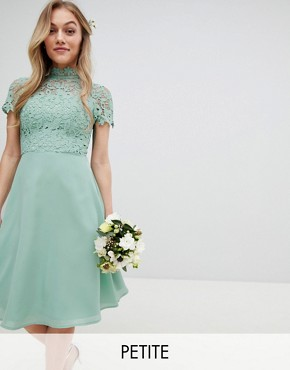 photo 2 in 1 High Neck Midi Dress with Crochet Lace by Chi Chi London Petite, color Green Lily - Image 1