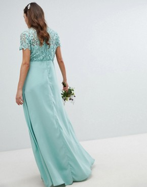 photo 2 in 1 High Neck Maxi Dress with Crochet Lace by Chi Chi London Maternity, color Green Lily - Image 2