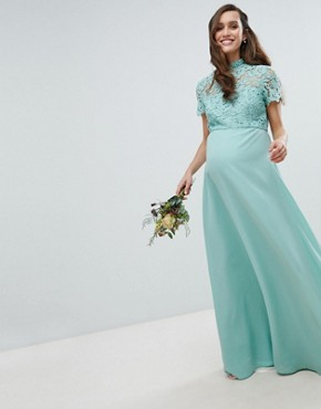 photo 2 in 1 High Neck Maxi Dress with Crochet Lace by Chi Chi London Maternity, color Green Lily - Image 1