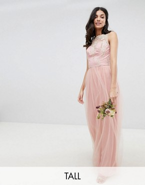 photo Sleeveless Maxi Dress with Premium Lace and Tulle Skirt by Chi Chi London Tall, color Vintage Rose/Gold - Image 1