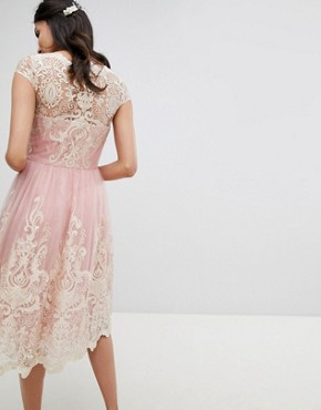 photo Lace Midi Prom Dress with Bardot Neck by Chi Chi London Tall Premium, color Vintage Rose/Gold - Image 2