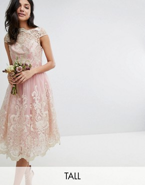 photo Lace Midi Prom Dress with Bardot Neck by Chi Chi London Tall Premium, color Vintage Rose/Gold - Image 1