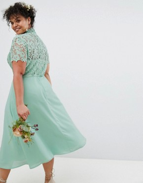 photo 2 in 1 High Neck Midi Dress with Crochet Lace by Chi Chi London Plus, color Green Lily - Image 2