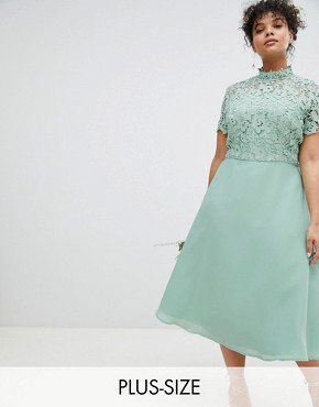 photo 2 in 1 High Neck Midi Dress with Crochet Lace by Chi Chi London Plus, color Green Lily - Image 1