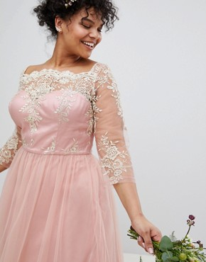 photo Premium Lace Midi Prom Dress with 3/4 Sleeve AND Tulle Skirt by Chi Chi London Plus, color Vintage Rose/Gold - Image 4