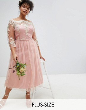 photo Premium Lace Midi Prom Dress with 3/4 Sleeve AND Tulle Skirt by Chi Chi London Plus, color Vintage Rose/Gold - Image 1