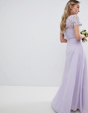 photo 2 in 1 High Neck Maxi Dress with Crochet Lace by Chi Chi London Petite, color Lavender Grey - Image 2