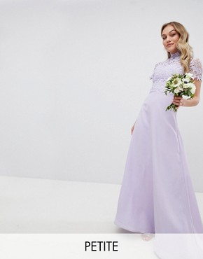 photo 2 in 1 High Neck Maxi Dress with Crochet Lace by Chi Chi London Petite, color Lavender Grey - Image 1