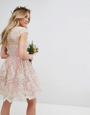 photo Lace Midi Prom Dress with Bardot Neck by Chi Chi London Petite Premium, color Vintage Rose/Gold - Image 2