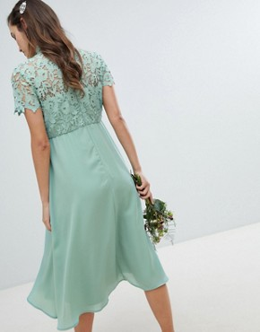 photo 2 in 1 High Neck Midi Dress with Crochet Lace by Chi Chi London Maternity, color Green Lily - Image 2