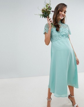 photo 2 in 1 High Neck Midi Dress with Crochet Lace by Chi Chi London Maternity, color Green Lily - Image 1