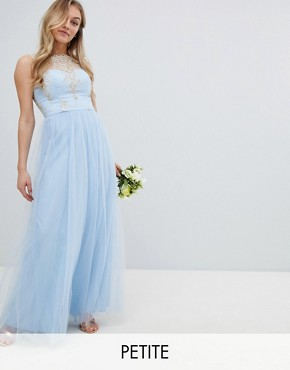 photo Bardot Neck Sleeveless Maxi Dress with Premium Lace and Tulle Skirt by Chi Chi London Petite, color Bluebell/Gold - Image 1