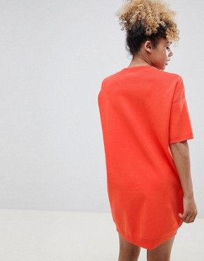 photo Knitted t-shirt Dress with Pointelle Stitch Detail by ASOS DESIGN Petite, color Orange - Image 2