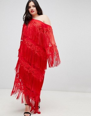 photo Embroidered One Shoulder Fringe Midi Dress by ASOS EDITION Curve, color Red - Image 2