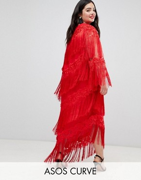 photo Embroidered One Shoulder Fringe Midi Dress by ASOS EDITION Curve, color Red - Image 1