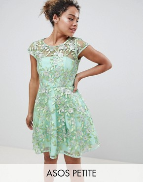 photo Sequin Embroidered Skater Mini Dress by ASOS EDITION Petite, color Green - Image 1