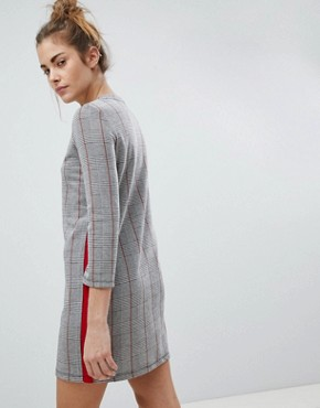 photo Checked Jersey Dress by Pull&Bear, color Grey - Image 2