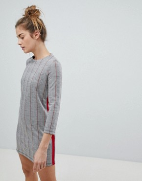 photo Checked Jersey Dress by Pull&Bear, color Grey - Image 1