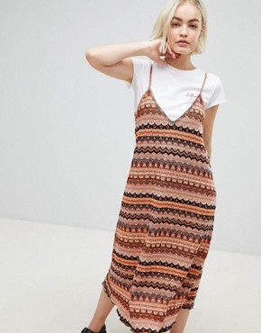 photo Knitted Cami Midi Dress in Multi by Pull&Bear, color Multi - Image 1
