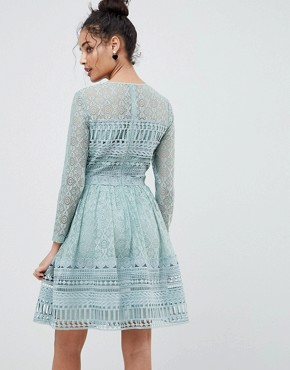 photo Lace Mini Skater Dress by ASOS DESIGN Premium, color Mint Green - Image 2