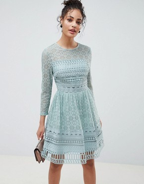 photo Lace Mini Skater Dress by ASOS DESIGN Premium, color Mint Green - Image 1