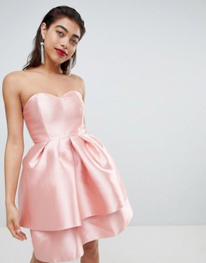 photo Double Layer Mini Prom Dress with Bow by ASOS DESIGN, color Soft Pink - Image 2