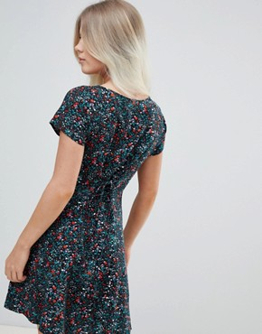 photo Back Swing Dress in Ditsy Print by Weekday, color Black - Image 2