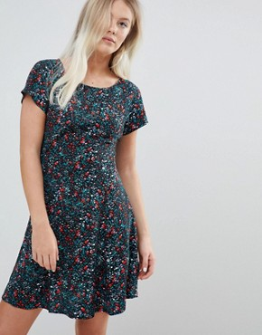 photo Back Swing Dress in Ditsy Print by Weekday, color Black - Image 1