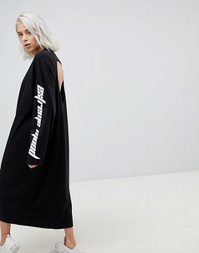photo Open Back Dress with Slogan Sleeve by Weekday, color Black - Image 2