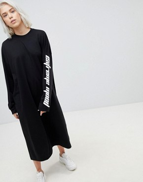 photo Open Back Dress with Slogan Sleeve by Weekday, color Black - Image 1