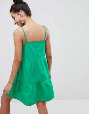 photo Cotton Tiered Mini Sundress by ASOS DESIGN, color Green - Image 2