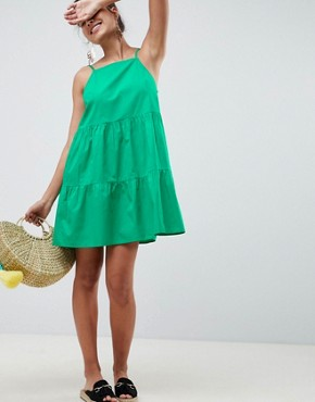 photo Cotton Tiered Mini Sundress by ASOS DESIGN, color Green - Image 1