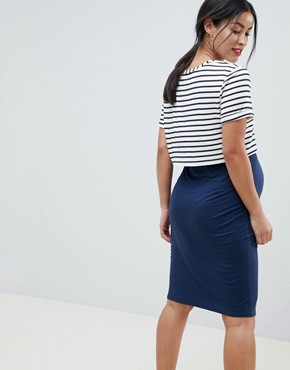 photo 2 in 1 Bodycon Midi Dress with Stripe Overlay by & You Nursing, color Navy Stripe - Image 2