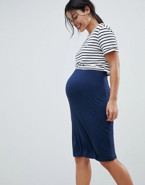 photo 2 in 1 Bodycon Midi Dress with Stripe Overlay by & You Nursing, color Navy Stripe - Image 1