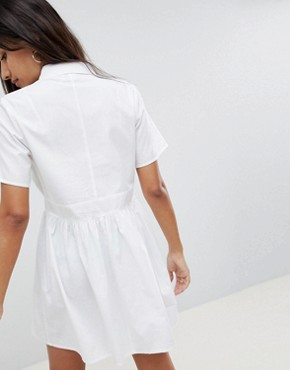photo Cotton Casual Shirt Mini Dress by ASOS DESIGN, color White - Image 2