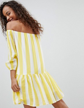 photo Off Shoulder Stripe Swing Dress by Parisian Petite, color Yellow - Image 2