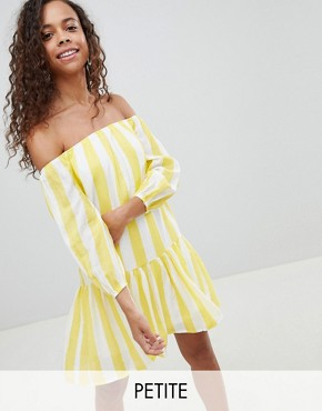 photo Off Shoulder Stripe Swing Dress by Parisian Petite, color Yellow - Image 1