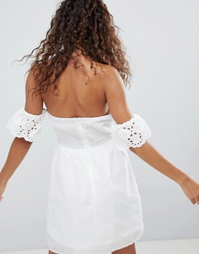 photo Off Shoulder Broderie Dress with Bow by Parisian Petite, color White - Image 2
