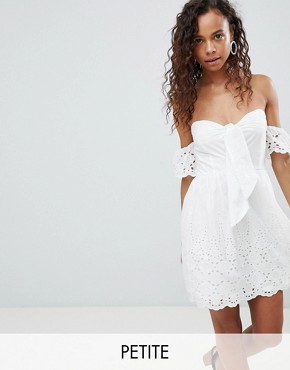 photo Off Shoulder Broderie Dress with Bow by Parisian Petite, color White - Image 1